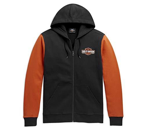 Harley-Davidson Colorblock - Felpa con cappuccio da uomo, colore: Nero/Arancione -  multicolore -  Small