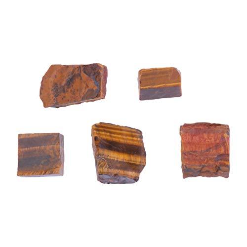 VOSAREA 5Pcs Ojo de Tigre Piedras Naturales Piedras Preciosas en Bruto Rocas para Collar Pulsera Pendientes DIY Craft 2-3Cm