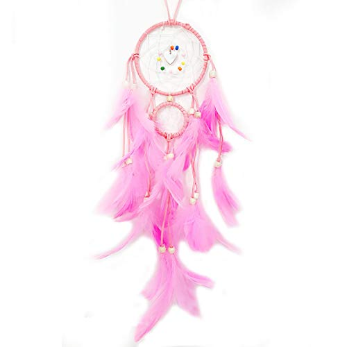 Dream Catchers for Kids Birthday Gift Handmade Pink Feather Dream Catcher with Shell Wall Hanging Décor for Bedroom