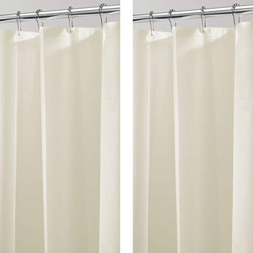 mDesign PEVA Duschvorhang – 182,9 cm x 213,4 cm – Duschvorhang Badewanne - Duschvorhang wasserabweisend - 12 Ösen für einfache Aufhängung - 2er Set - beige