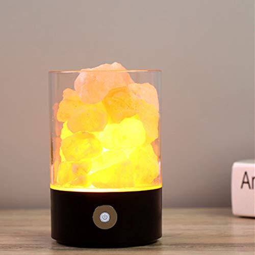 Smart hem kreativ saltlampa USB jon luftrening skrivbord dekoration sovrum bordslampa med sovande LED-nattlampa svart 3