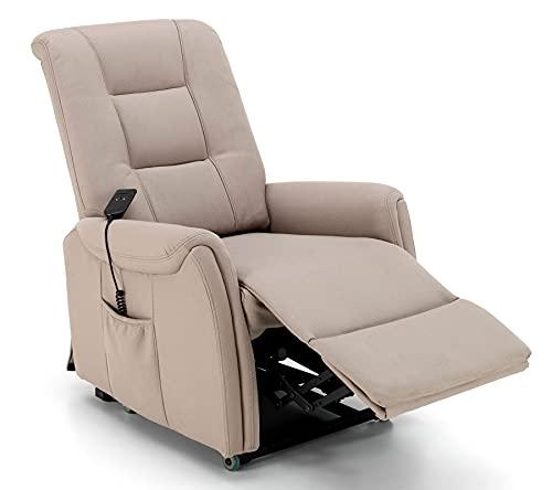 Poltrona Relax Motorizzata Alzapersona Elettrica 1 Motore Per Soggiorno Con Agevolazione IVA ridotta 4% Reclinabile Comoda Resistente 90 x 75 x H107cm, (Similpelle Tortora)
