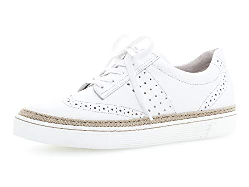 Gabor 26.416 Damen Sneaker,Skater Sneaker,Sportschuh,Low-Top,Schnürer,Halbschuh,Plateau-Sohle,Weiss (Jute),40 EU / 6.5 UK
