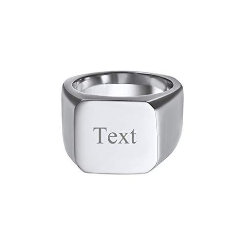 U7 Herren Edelstahl personalisiert Fingerring Punk Stil Siegelring hochglanzpoliert Quadrat Band Ring einfach Hip Hop Ring Street Style Modeschmuck für Männer Jungen(Ring Größe 67)