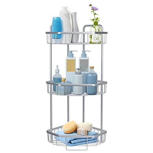 Duwee - Organizador de ducha de esquina de 3 niveles, bandeja de ducha de aluminio para champú, jabón, organizador de ducha montado en la pared, estante de ducha de esquina con taladro de tornillo, color plateado