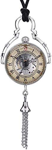 CFSAFAA Pocket watch Jewelry Creative Classic New Couple Mechanical Watch Silver Retro Mechanical Men Women Short Chain Means the watch in the pocket (Color : Silver, Size : 4.7x1.5cm)