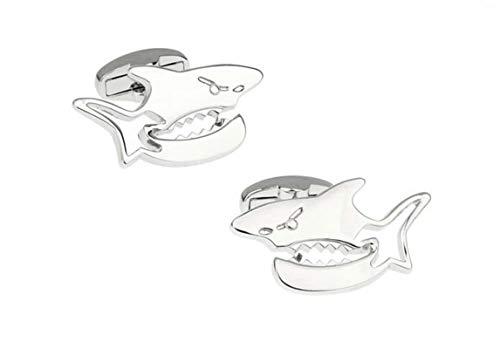 Daesar Manschettenknopf für Hochzeit Haifisch Silber Herren Manschettenknöpfe Hemd Edelstahl mit Geschenk Box