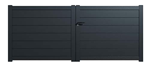 Packit - Portail aluminium battant plein en kit dimension L.3000 (entre piliers) X H.1500 mm couleurs Gris (RAL 7016)