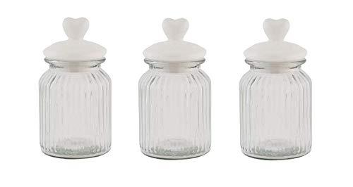 HOMIES, Set von 3 Stück, dekoratives Vorratsglas für Lebensmittel, luftdicht, mit weißem Keramik-Herzdeckel, für...