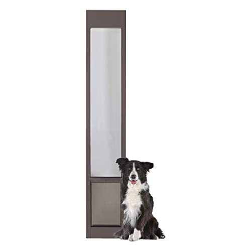 PetSafe Freedom Aluminum Patio Panel Sliding Glass Dog and Cat Door, Adjustable 76 13/16 in to 80 11/16 in - Large Bronze Pet Door