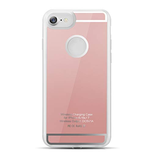Hengju Wireless Charging Receiver Case, TPU Shockproof Scratch Protection 5W Back Qi Wireless Charge Cover for i Phone 6 6s 7 (Rose Gold)