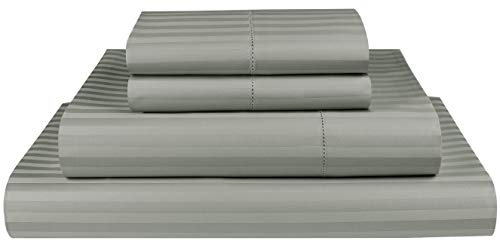 Threadmill Home Linen 600 Thread Count Twin XL Sheets Sets - 1CM Damask Stripe 100% ELS Cotton Sheets for Twin XL Size Bed, Luxury 3 Piece Bedding Set with Deep Pocket Fitted Sheet Moon Rock Grey