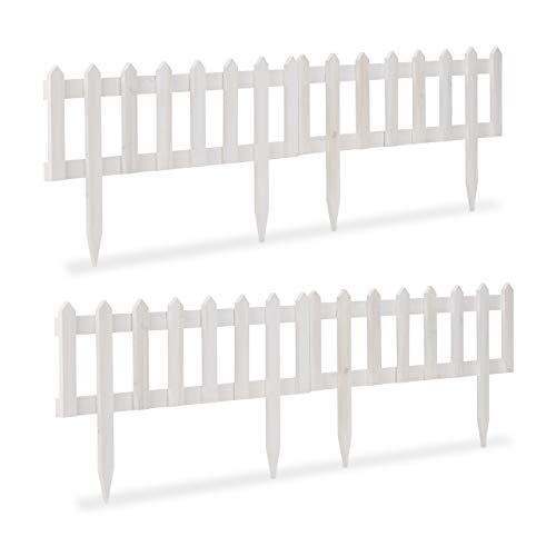 Relaxdays Steckzaun Holz 4er Set, Erdspieß, Beeteinfassung zum Stecken. Pflanzen, Blumen Zaunelemente 60 x 32 cm, weiß