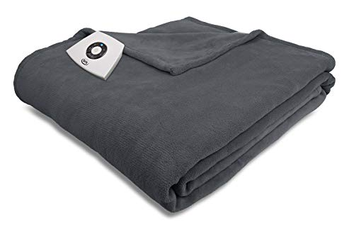 Serta | Super Soft Microplush Heated Electric Warming Blanket with 5 Heat Settings, Auto-Shut Off & Overheat Protection (King, Charcoal)