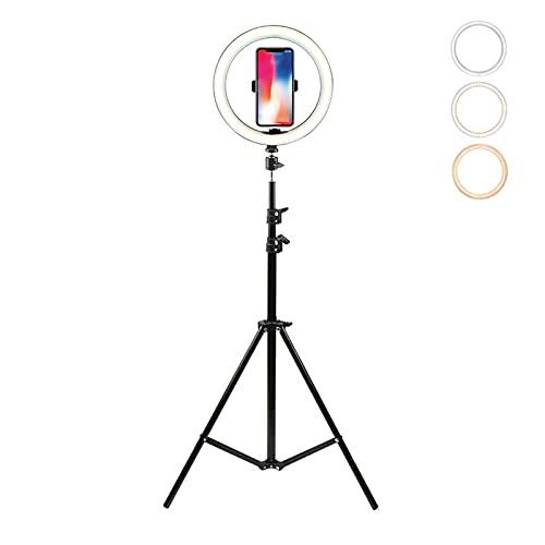 10'' Aro de Luz con Tripode Selfie Anillo de Luz con Control Remoto Bluetooth LED Ring Light 3 Color Modos 10 Brillos Regulables para Maquillaje, Streaming, Youtube,Tik Tok,Live Stream ,Fotografia