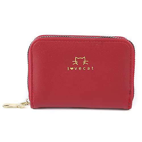 Monedero creativo moda casual lindo órgano tarjeta bolsa simple cremallera gato señora tarjeta bolso monedero, rojo vino, C
