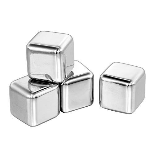 Juego de 4 cubos de hielo de acero inoxidable 304 reutilizables con funda de plástico para whisky, vodka, cerveza, vino, bebidas