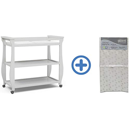 Delta Children Lancaster Changing Table, Bianca White and Waterproof Baby and Infant Diaper Changing Pad, Beautyrest Platinum, White