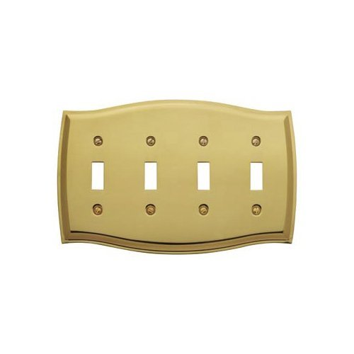Baldwin 4782.030.CD Colonial Design Quad Toggle Switch Plate, Polished Brass - Lacquered by Baldwin