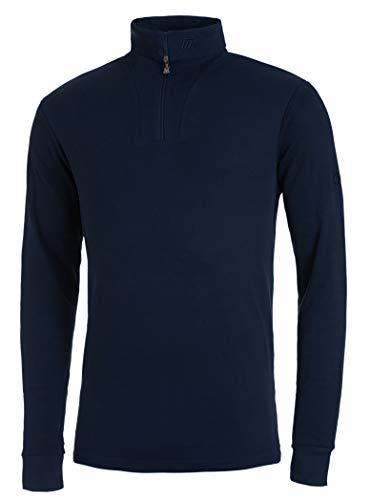 Medico Herren Ski Shirt, 100% Baumwolle, Langarm, Rollkragen, Reißverschluss (Navy, 50)