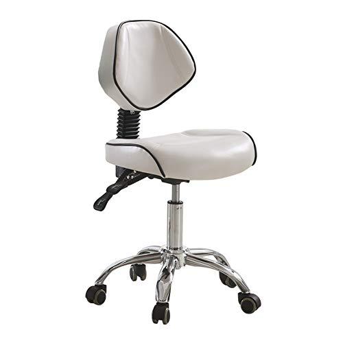 Stühle HAIYU-Sattelrollbarer Drehhocker Verstellbarer Rückenlehne Ergonomischer Anhebbarer Arbeitsstuhl für Tätowierung Gesichtsbehandlung Massage Maniküre Schönheit Salon Friseur, Weiß