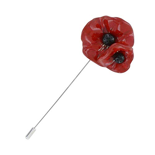 Les Poulettes Jewels - Brooch Ceramic Two Red Poppies Silver Plated Metal