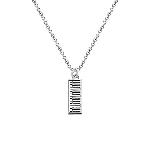 CHOORO Piano Keyboard Pendant Keychain Piano Zipper Pull Music Jewelry Gift for Pianist/Piano Teacher/Music Lovers (Necklace)