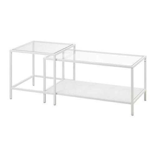 IKEA VITTSJÖ Satztische in weiß; aus Glas; (90x50cm); 2 Stück