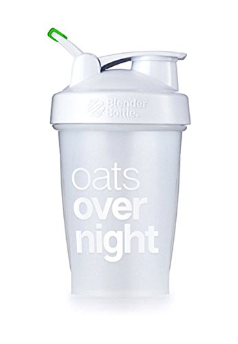 Oats Overnight BlenderBottle - Customized for Overnight Oats - NO Whisk Ball - Milk Fill Line - Clear/White/Green - 20-Ounce Loop Top