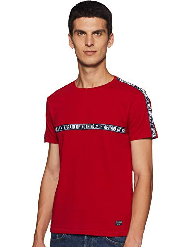 Flying Machine Men's Printed Regular fit T-Shirt (FMTS3021_Red_L)