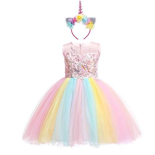 Unicornio Vestido de Princesa Flor Partido Disfraces para Niñas Carnaval Traje Halloween Fiesta Cosplay Elegantes Cumpleaños Pageant Comunión Ceremonia Tutú de Arco Iris Ropa Rosa 13-14 Años