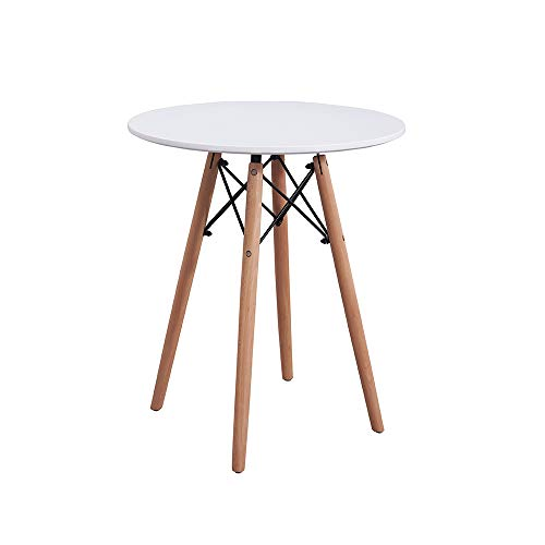 Comforyou White Round Dining Table Office Kitchen Modern Style Table Wood Legs (60CM)