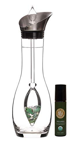 VitaJuwel Era Decanter and Vitality Hand-Crafted Gemstone Vial w/Free Organic Wellness Essential Oil Roll-On