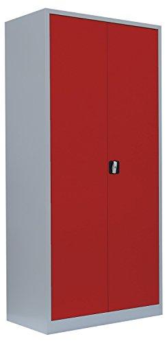 Flügeltürenschrank Schrank Stahl Stahlblech Lagerschrank Aktenschrank 4 Fachböden 530344 Rot 1950 x 920 x 420 mm, kompl.montiert und verschweißt