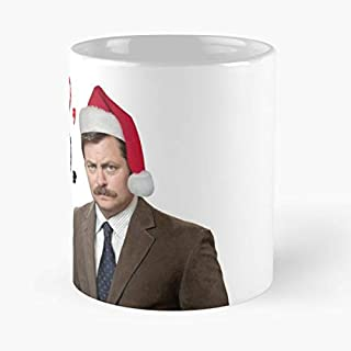 Parks And Rec Ron Swanson Xmas Meme Greeting Cards Classic Mug - The Funny Coffee Mugs For Halloween, Holiday, Christmas Party Decoration 11 Ounce White Laqued.