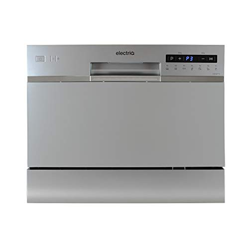 electriQ 6 Place Freestanding Compact Table Top Dishwasher - Silver