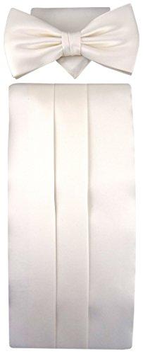 TigerTie TigerTie Kummerbund Einstecktuch Fliege Farbe weiß perlmutt creme - 100% Seide - Schärpe Leibbinde
