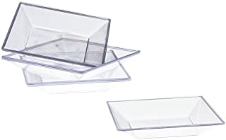 Exquisite Plastic Mini Square Appetizer Plates - 100 Ct Square plastic Dessert Plates - 2.95 Inch. x 2.95 Inch. (Clear)