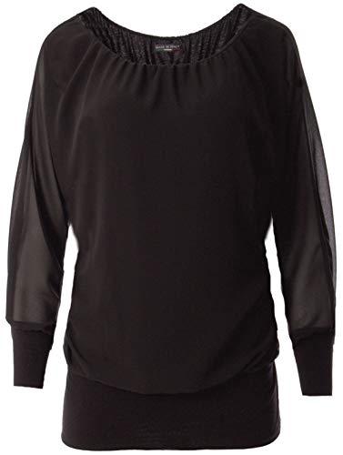FASHION YOU WANT Damen Oversize Oberteile Tshirt/Pullover Uni Übergrößen Shirt Langarm (schwarz, 40/42)