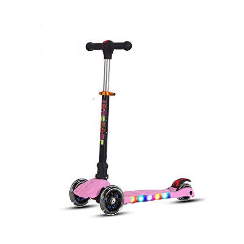 LRHD Kick Scooter Plegable for niños, de 3 Ruedas LED Parpadeante Planeador Patinete con Altura Ajustable y Plegable Manillar, Antideslizante Cubierta Ancha for Niños Niñas 3-12 (Color : Rosado)