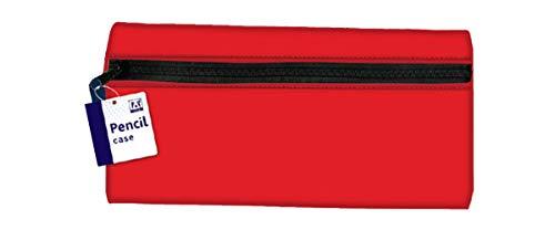 Large Flat Neoprene Pencil Case Red 27 x 14cm