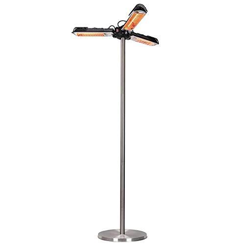 SEESEE.U Calefactores de sombrilla para Patio Calentador de Espacio Exterior infrarrojo eléctrico Plegable (3 sombrillas con pérgola o cenador) Negro-Plateado (Color: Calentador Vertical Plegable)
