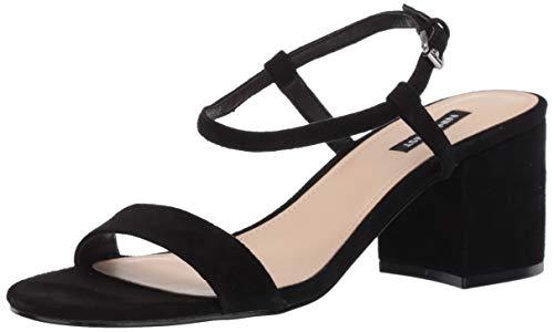 NINE WEST Women's Ankle Strap, 2 Piece Sandal Heeled, Black, 8