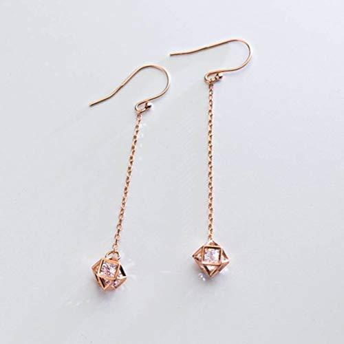 WOZUIMEI Pendientes de Plata S925, Moda Coreana Femenina, Pendientes Geométricos Huecos de un Solo Diamante, Temperamento DulceUn par