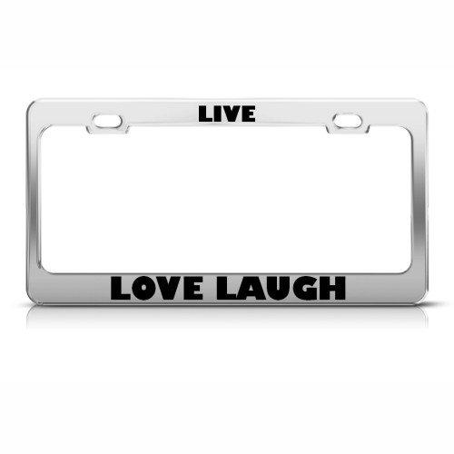 Live Love Laugh Cadre étiquette en métal inoxydable support de plaque d'immatriculation