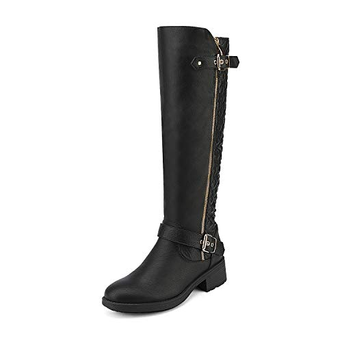 DREAM PAIRS Women's Utah Black Low Stacked Heel Knee High Riding Boots Wide Calf Size 9 M US