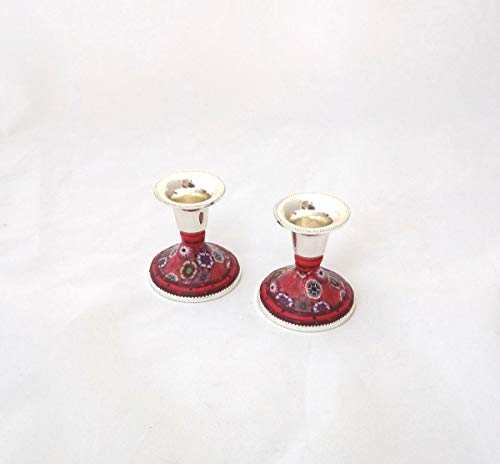 Shabbat Candlesticks, Handmade Nickel Candle Holders Decorate with Polymer Clay, Perfect Wedding and Bat Mitzvah Gift