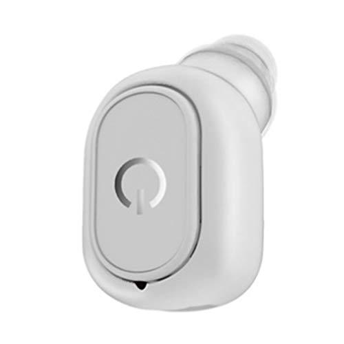 Wsaman Deportivos Auriculares Auriculares para Trabajo y Deportes Viaje, Mini Auriculares Bluetooth 5.0 Inalámbricos,para Durante Negocios/Oficina/Conducción,Blanco