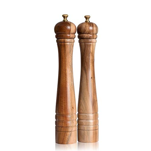 DeroTeno Salz- und Pfeffermühle Set, Pfeffermühle mit Edelstahlmahlwerk, Salzmühle mit Keramikmahlwerk, Akazienholz, H 30 cm