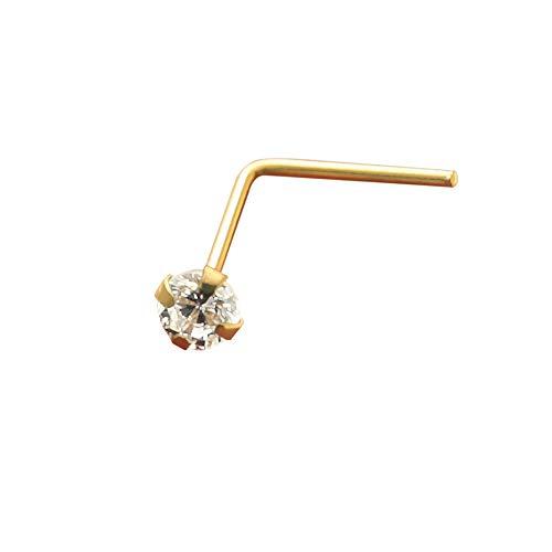14K Gelb Gold Zinke eingestellt 1,5 MM Runde CZ Stein 22 Gauge L Bend Nose Stud Piercing